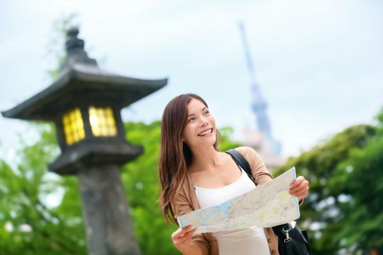 Woman tourist in Japan