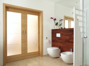 bathroom with a sliding door