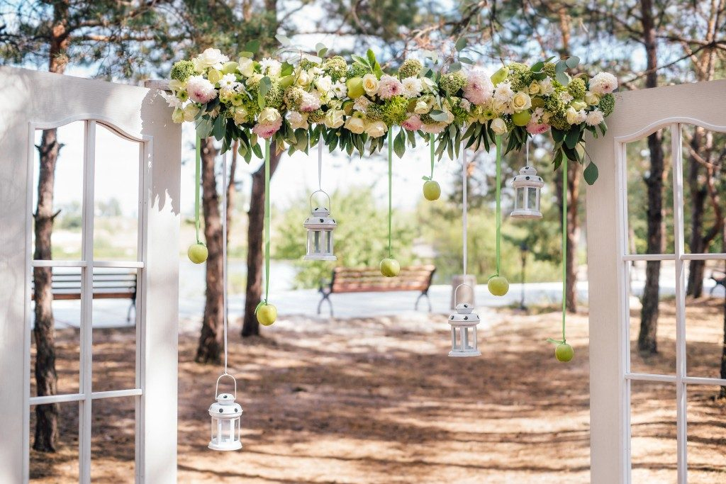 Wedding arch in the venue