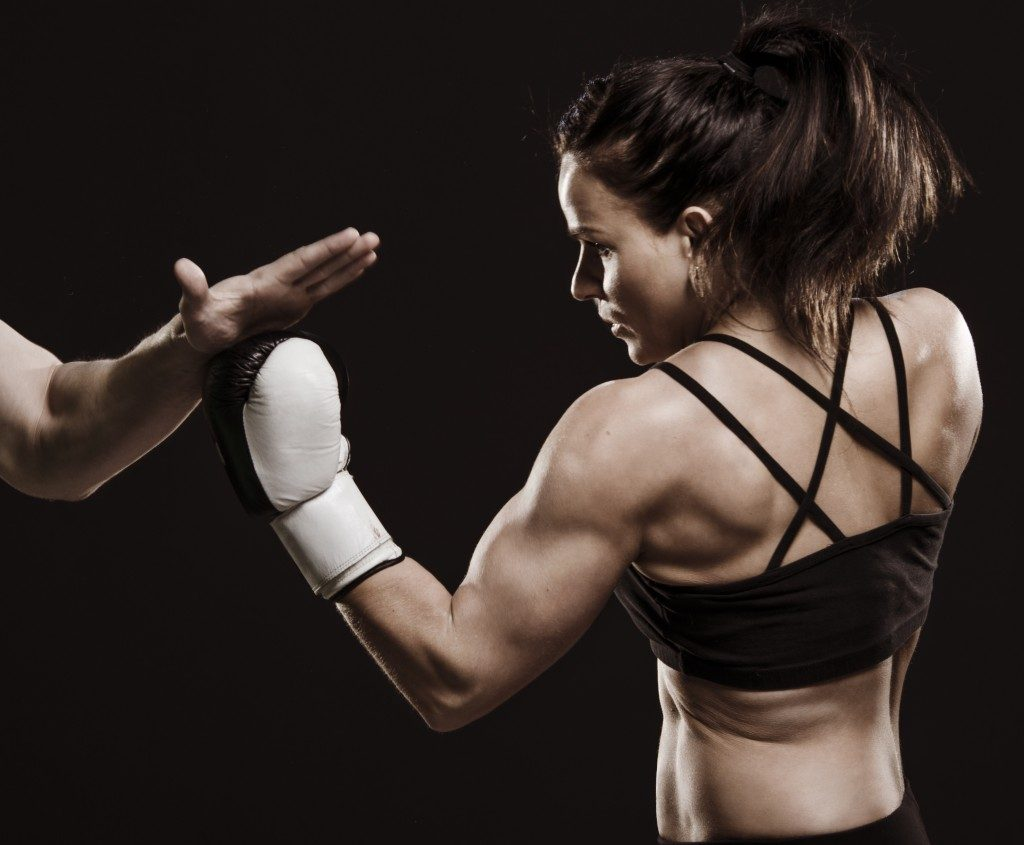 Woman in a boxing training