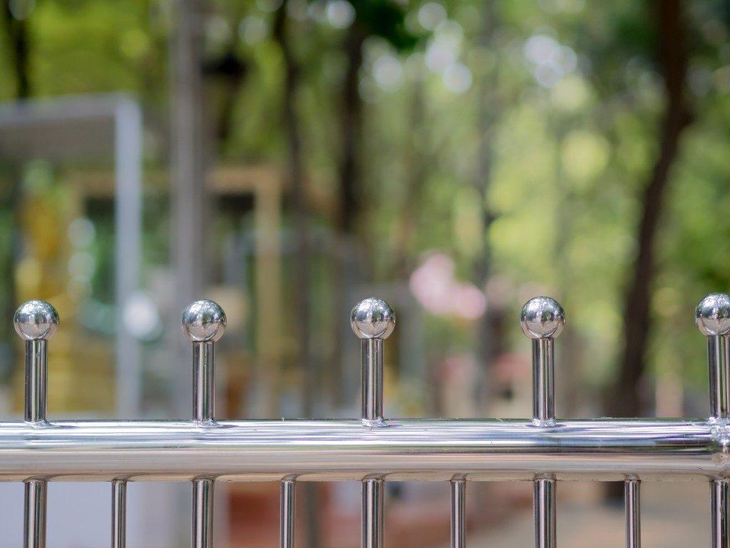 Silver aluminum fence