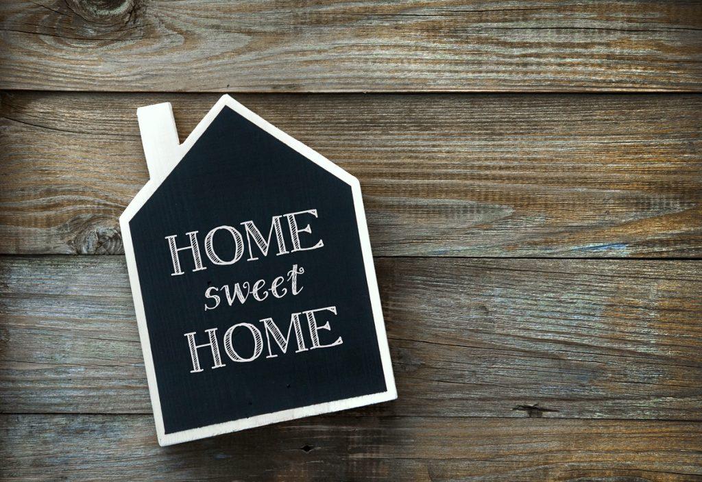 Home sign written using chalk