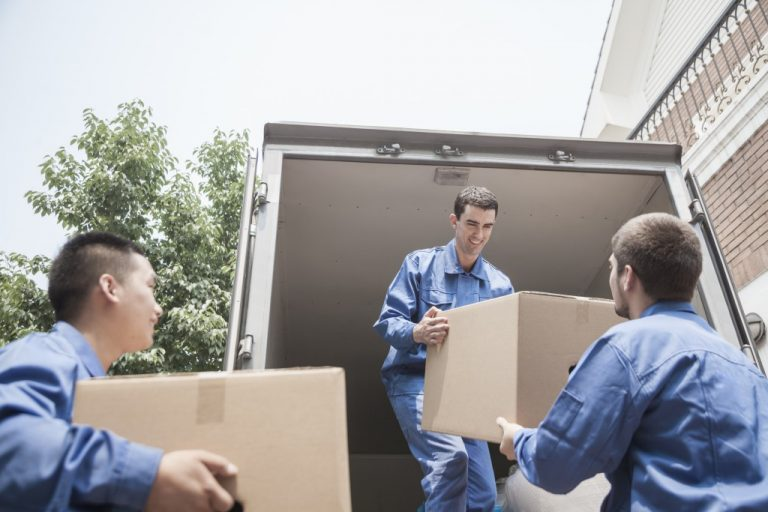 professional movers loading boxes