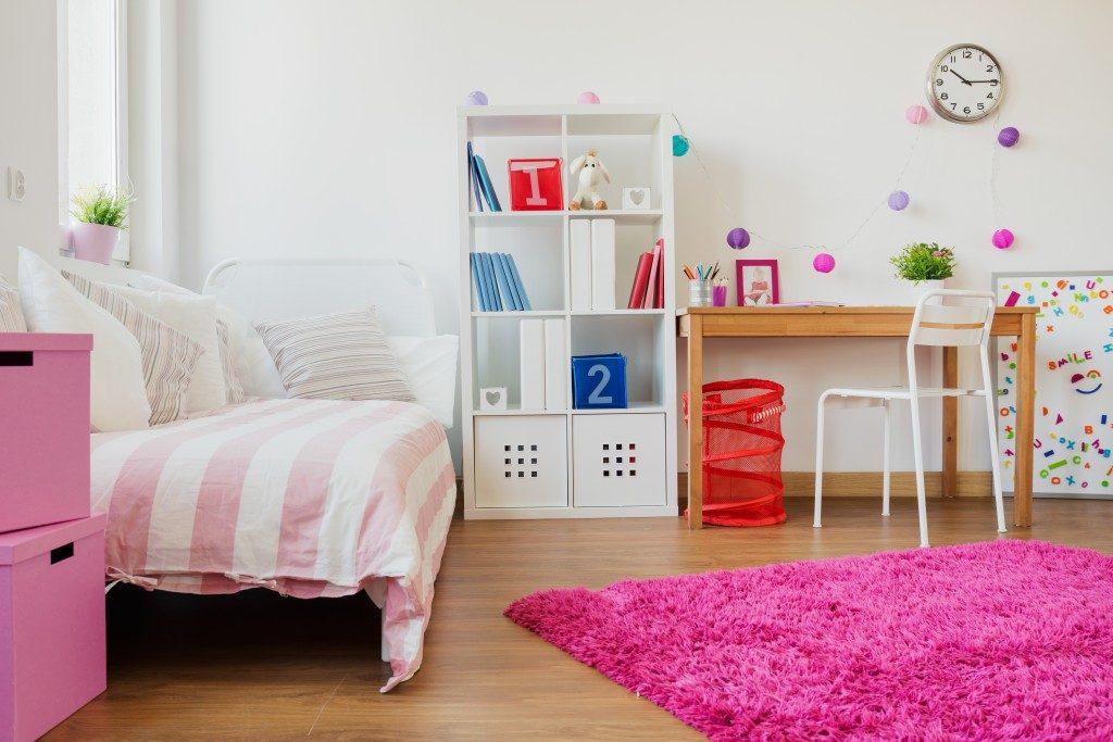 bookshelf in the bedroom