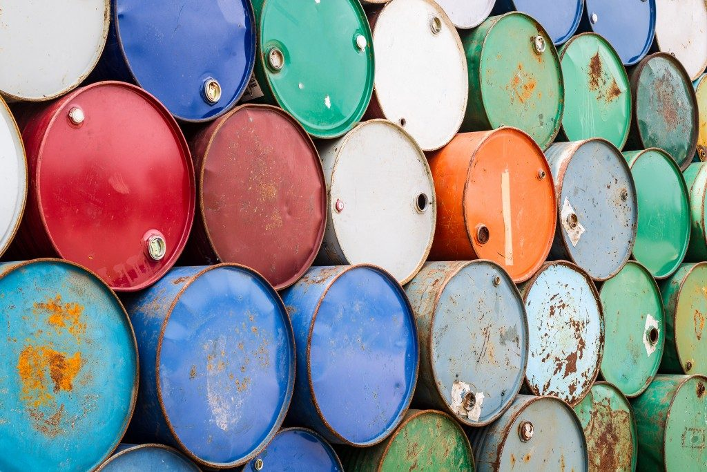 rust on oil barrels
