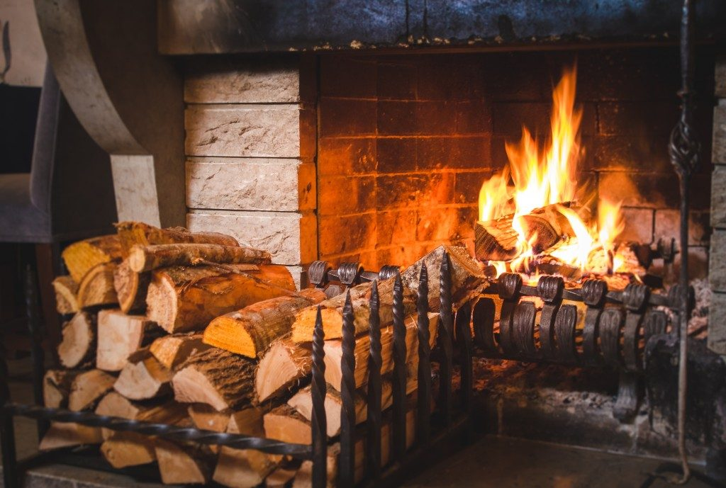 wood by the fireplace