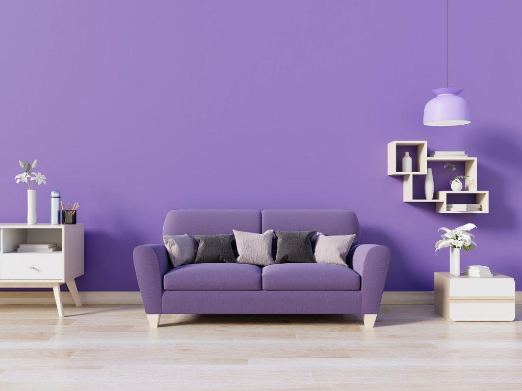 living room painted in purple