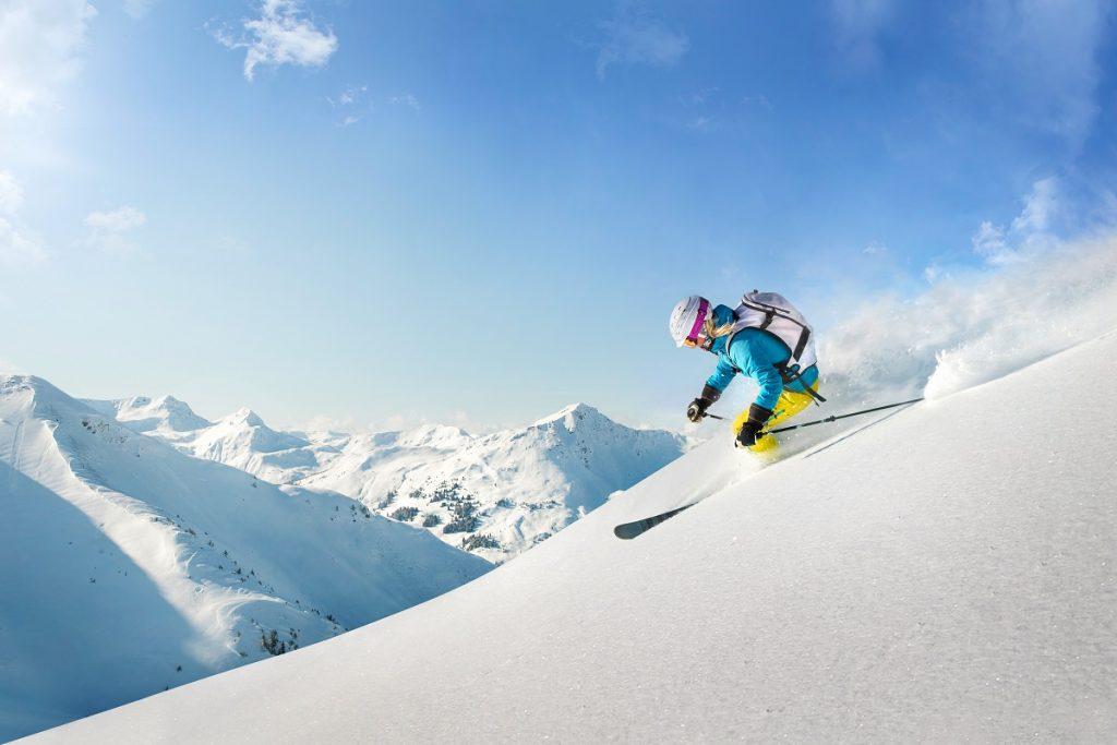 female snow boarder