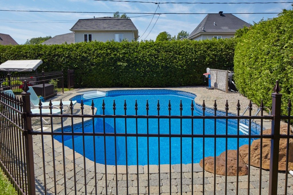 pool with a fence