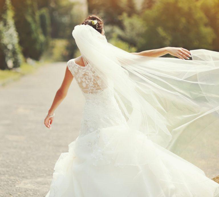 happy bride spinning around