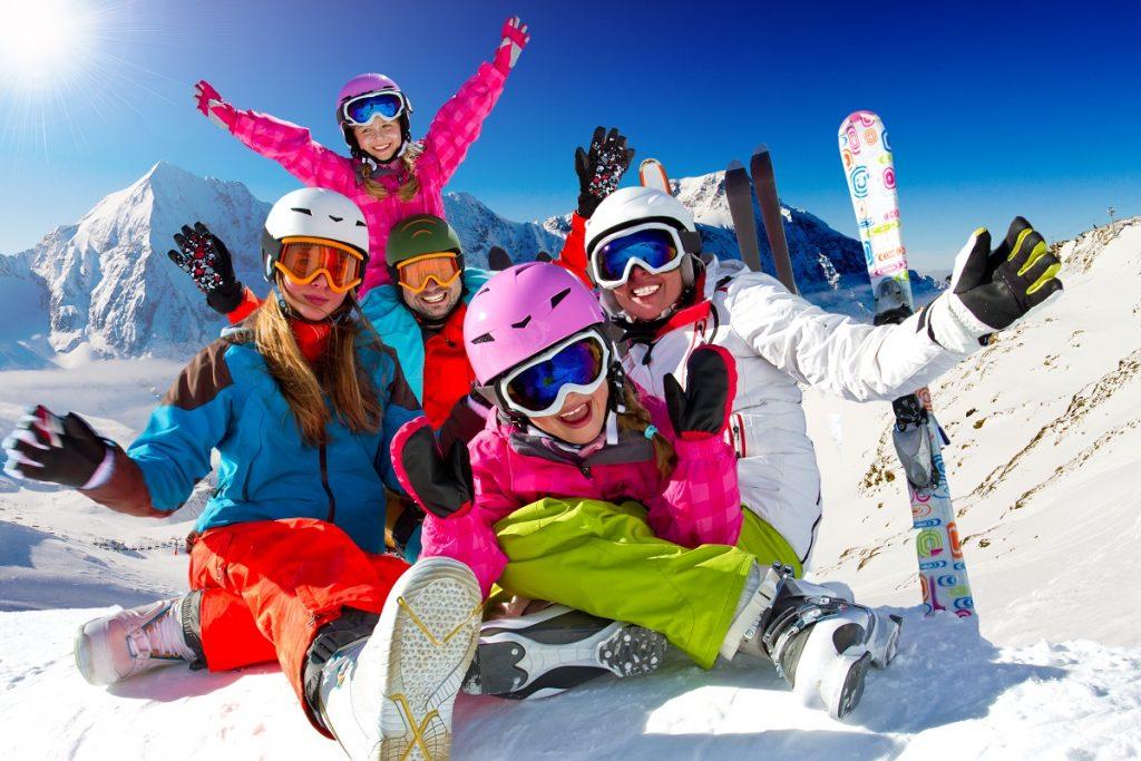 family on a ski trip