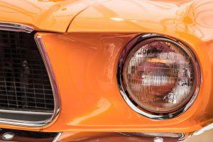 headlights of an orange car