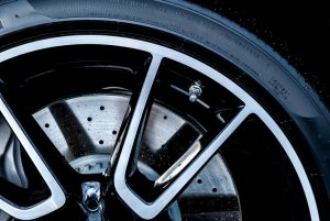 Close-up shot of a car's brake disc