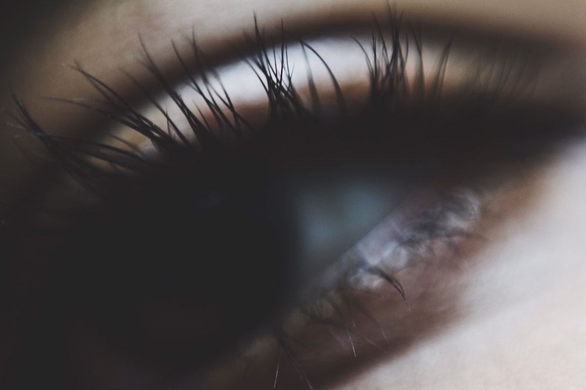 Person with long eyelashes