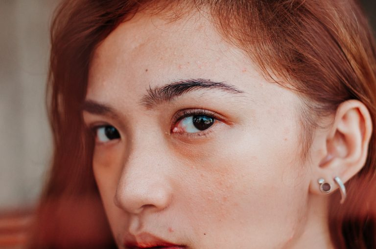 Close up of woman and her eyebrows