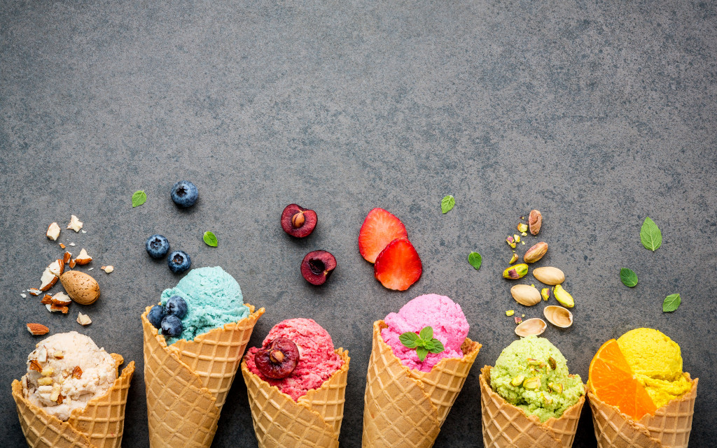 Different flavors of ice cream in cones