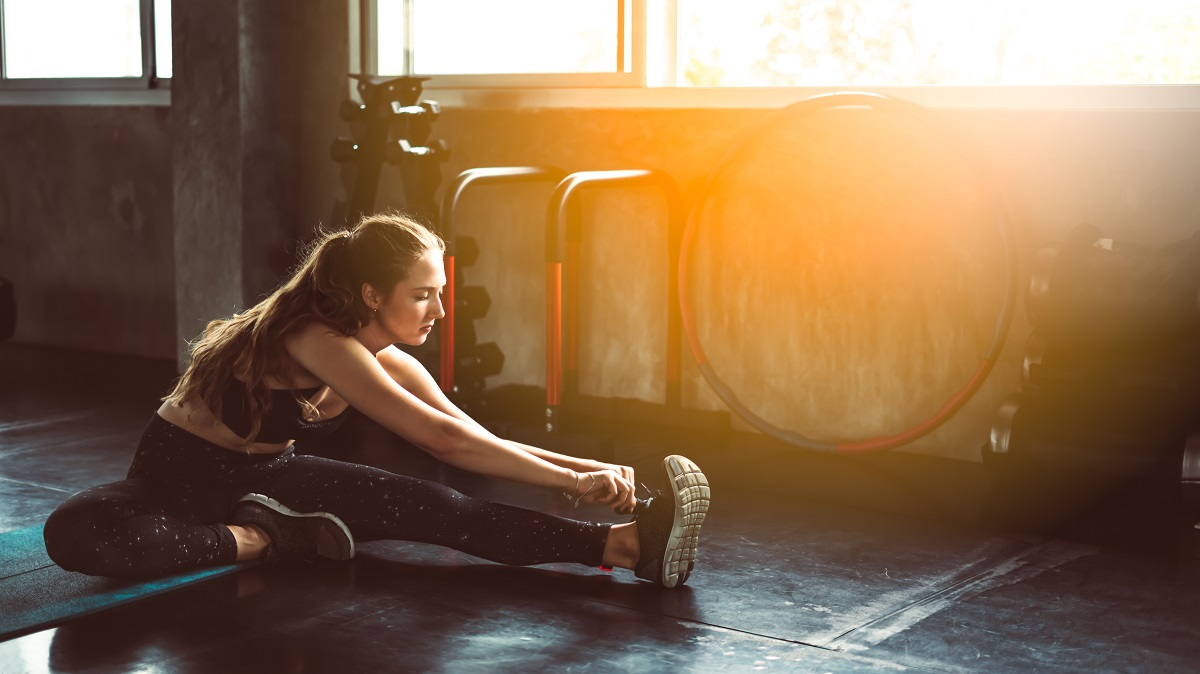 woman doing stretching