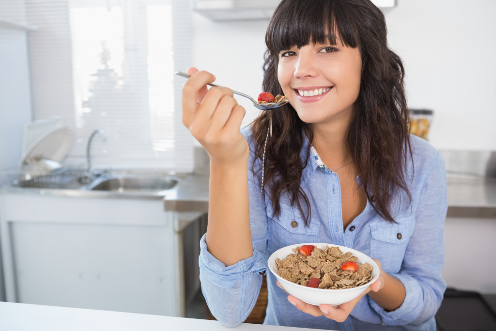 woman with a bowl of food
