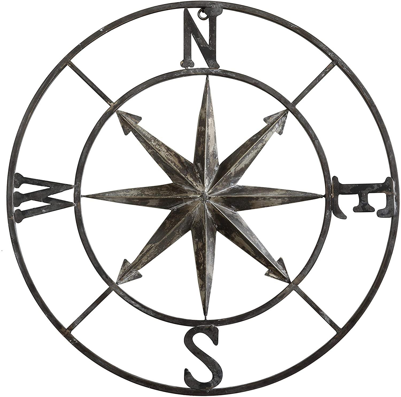round-metal-compass-wall-decor