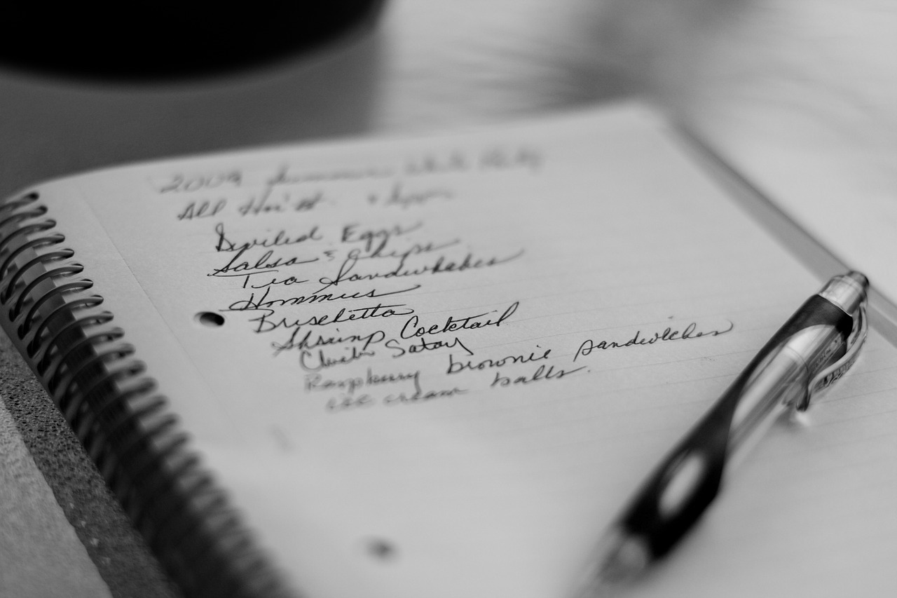 grocery list on a notebook