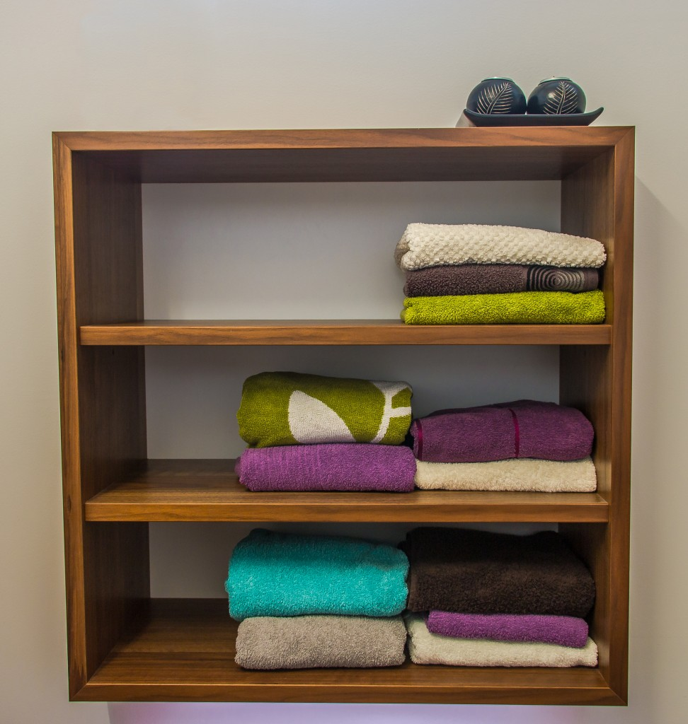 shelf with towels