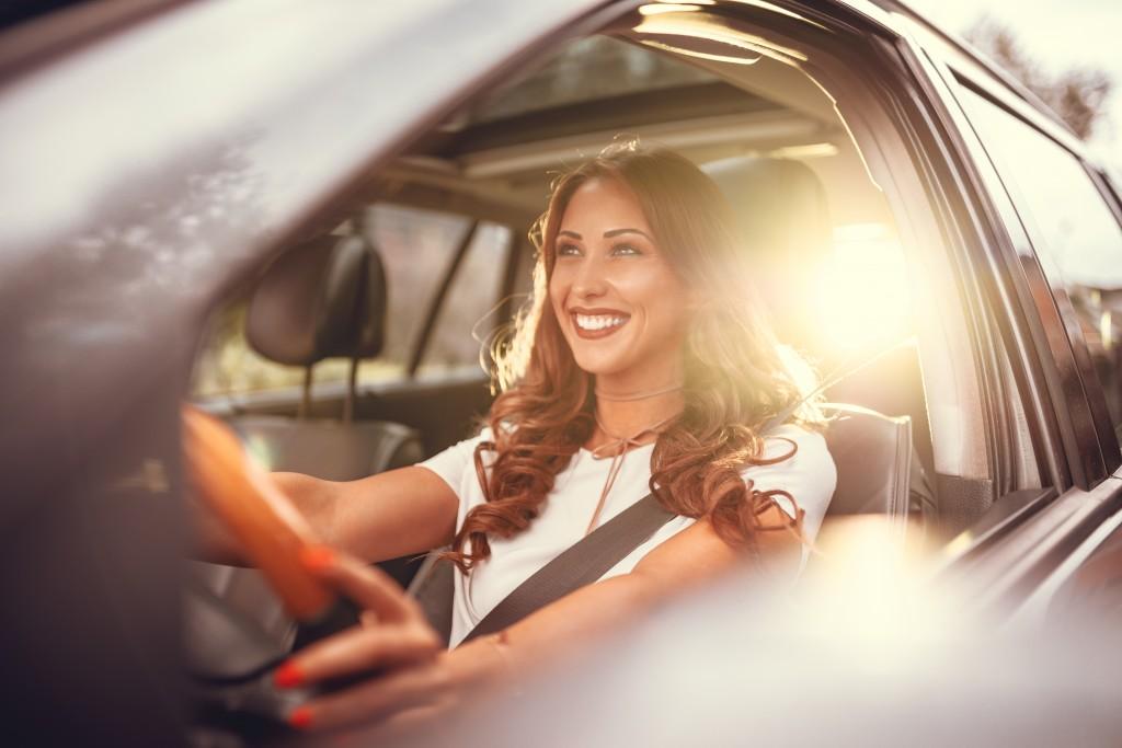 woman taking a road trip