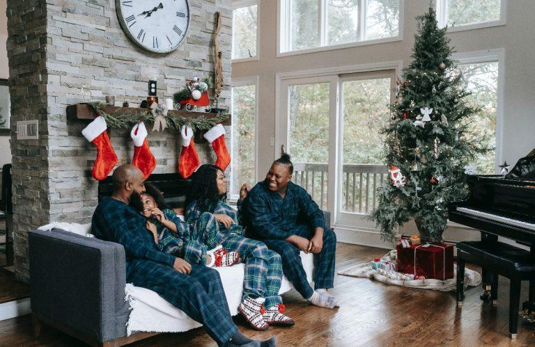 family at Christmas morning