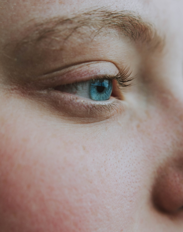 closeup of a woman's blue eye