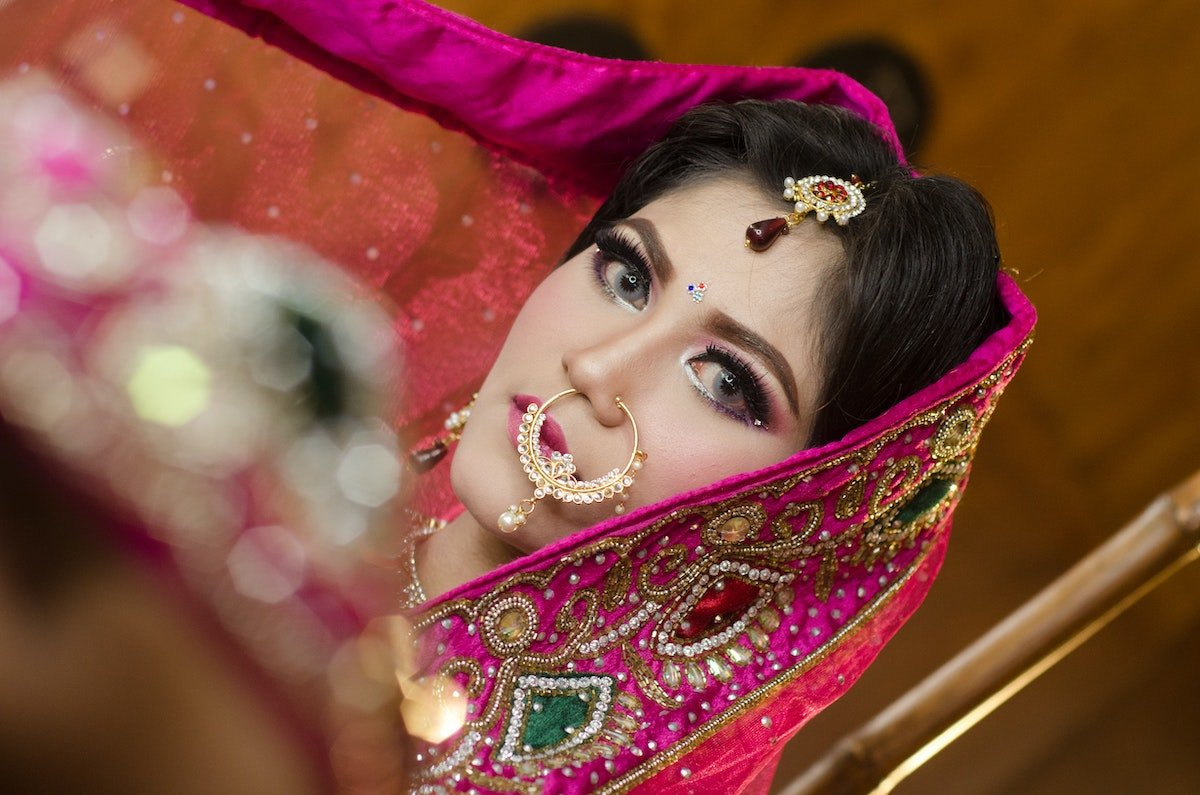 Indian woman with a huge nose ring