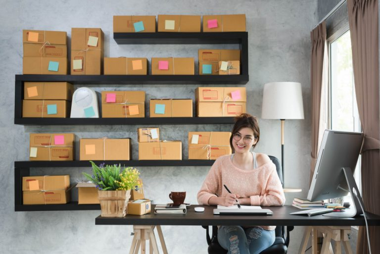 woman selling online